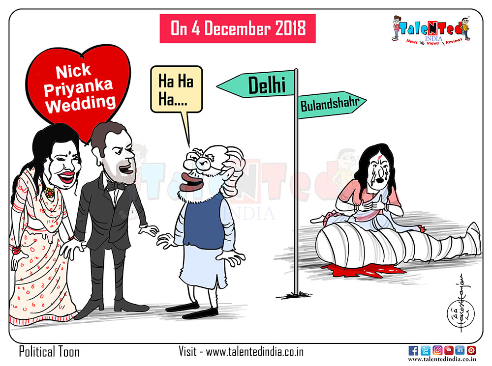 Cartoon On Nickyanka Delhi Reception