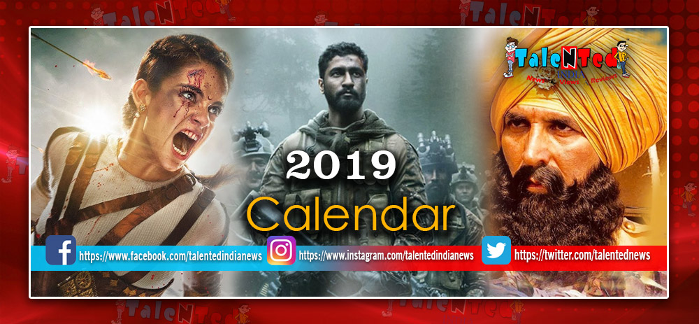 Bollywood Calendar 2019 Upcoming Movie 2019 List :