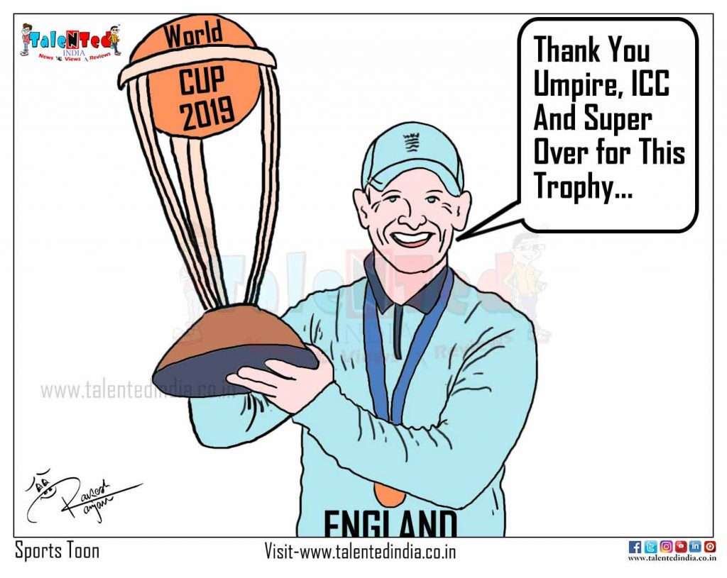 Today Cartoon On ICC World Cup 2019 Winner, England vs New Zealand