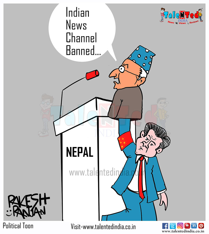 Nepal Bans Private Indian Channels | Cartoon News | Political Cartoon
